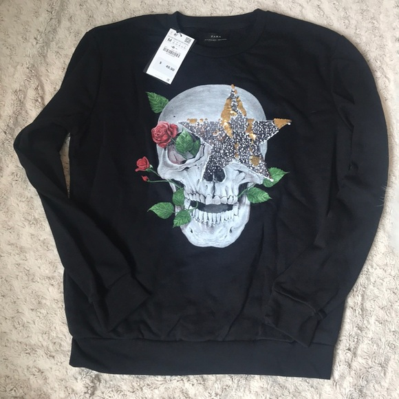 fe6ffe4e Zara Tops | Skull Sweatshirt With Sequins Nwt | Poshmark